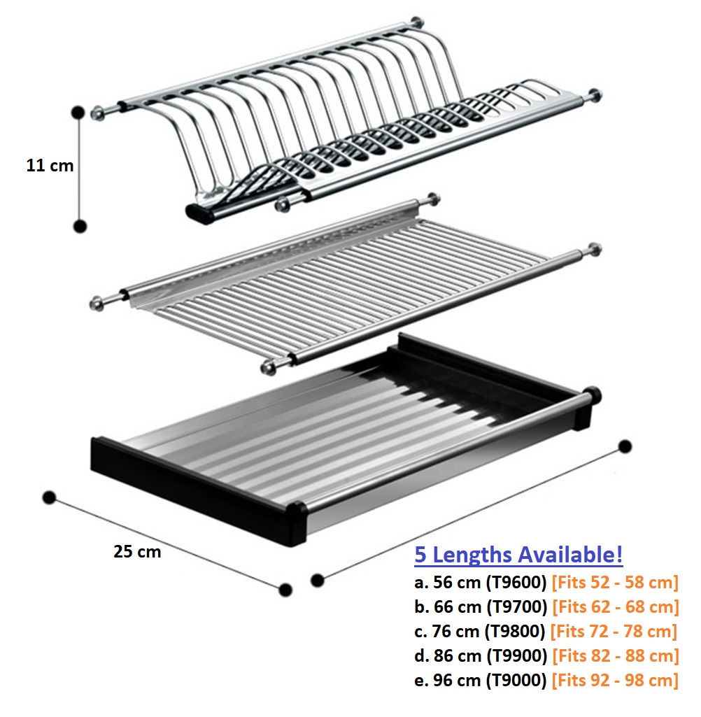 Stainless Steel 304 Kitchen Cabinet Mounted Dish Rack 5 Sizes 560 Mm 660 Mm 760 Mm 860 960 Mm Singapore Online Home Diy Hardware Tools Shop My Home Beaver